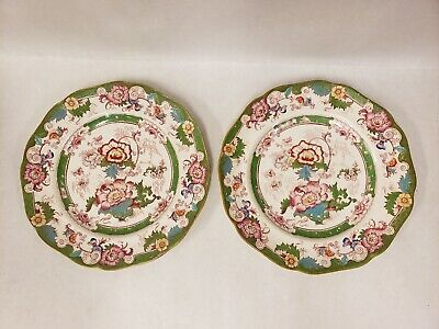 Antique Royal Cauldon GREEN BENTICK SCALLOPED LUNCHEON PLATES Chinese Peony
