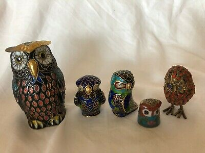 Mixed Porcelain Owls Vintage Set Art Pottery Made in China Detailed
