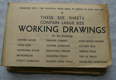 Vintage: Six sheets of Working Drawings for furniture (see description for list)