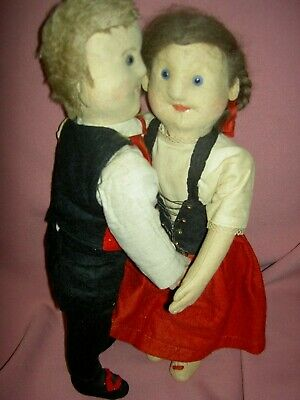 PAIR antique German, straw stuffed jtd.felt dolls, glass eyes, center face seam