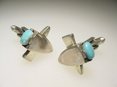 Vintage Sterling Turquoise Mexican Silver Mid Century Cufflinks Antonio Pineda