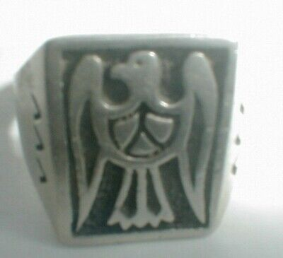 VINTAGE NAVAJO sterling silver OVERLAY MENS RING wide SIZE 12 AMERICA EAGLE