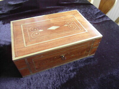 ANTIQUE BOX + KEY * velvet lined Mahogany with brass inlay APPROX 31 x 21 x 11cm