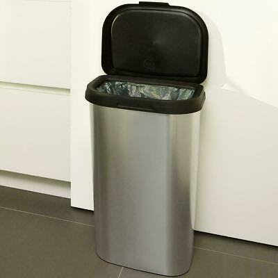 New 50L Silver Rust Resistant Bin Stainless Steel Home Kitchen Waste Rubbish Bag