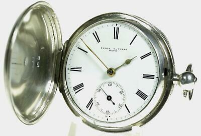 Silver full hunter English fusee lever watch 1871 fully working E J Vokes, Bath