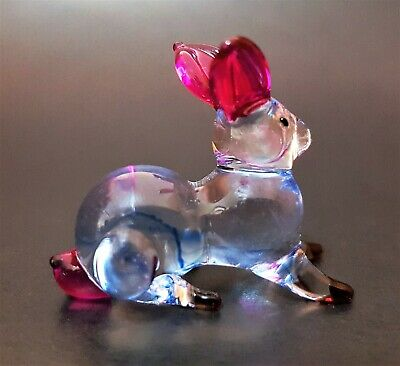 Curio Display Glass RABBIT BUNNY HARE Painted Glass Animal Blown Glass Ornament