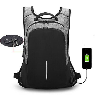 Men USB Charging Port Backpack Travel Anti-theft Shoulders Bag Laptop Rucksack