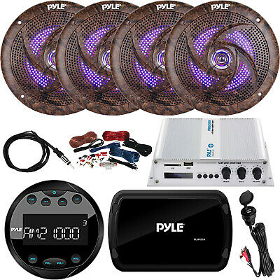 """Pyle PLMR93W Boat Receiver, 4x 6.5"""" LED Speakers, Amp w/ Kit, Antenna, AUX Mount"""