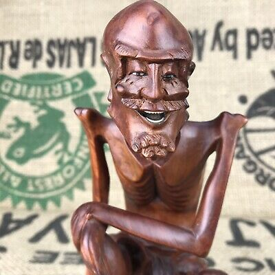 """Vintage 8.5"""" Hand Carved Asian Wood Male Figure Oriental Chinese Delicate"""