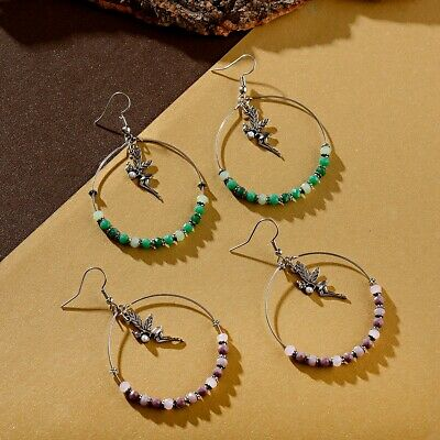 Fashion Women Charm Bohemia Big Round Angel Dangle Gemstone Indian Earrings Gift