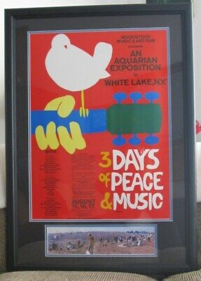 Original 1969 Woodstock Music & Art Fair Poster & Ticket, Nearly 50 Years Old!