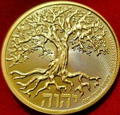 NEW  2019 Tree of Life , 1 oz .9999 pure Silver Coin , 24k Gold Gilded  F