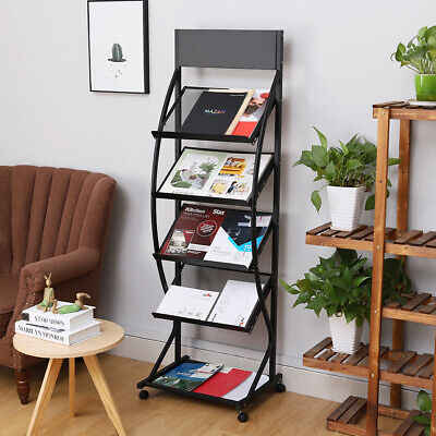 New A4 Black Portable Brochure Exhibition Leaflet Magazine Display Stand Trolley
