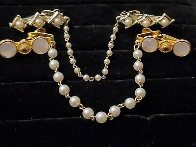 Vintage Jewelry Accessories 2 Sweater Guard Clips Faux Pearl Mother of Pearl