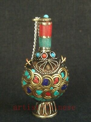Collection Chinese Tibet Old Copper Inlay Turquoise Coral Snuff Bottle Trinket