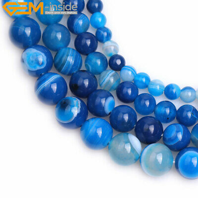 """Natural Gemstone Round Blue Banded Agate Loose Beads Jewelry Making Strand 15"""""""