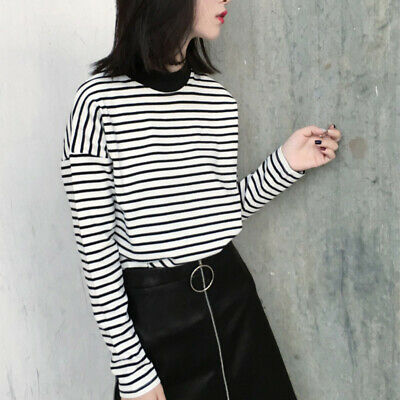 Womens Striped Long Sleeve T-Shirt Top Pullover Casual Blouse Basic Loose Shirts