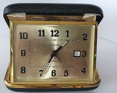 Europa Travel Clock Alarm Date 2 Jewels Wind Up Made In Gemrnay Vintage