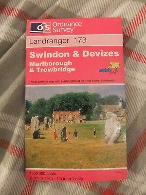 Ordnance Survey Landranger Map 173 Swindon Devixes Marlborough Trowbridge 1997