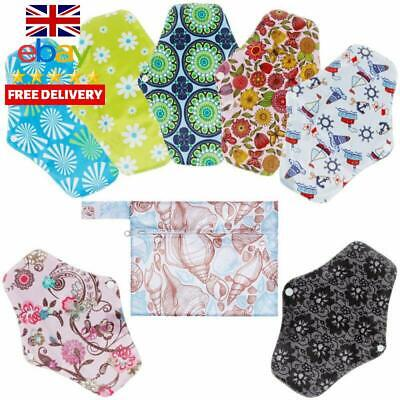 Rovtop Reusable Sanitary Towels Pads(7 In 1, 25.4Cm), Panty Liners With Wet Bag,