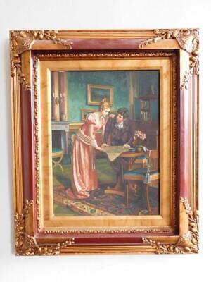 Extraordinary Original Oil Painting Victorian Parlour Scene in Superb Frame