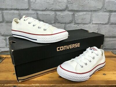 Converse All Star Low White Canvas Trainers Various Sizes Childrens Girls Boys