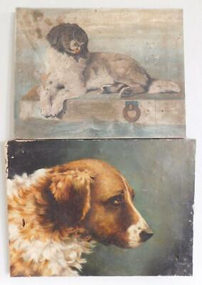 2x Antique Victorian Oil Paintings of Dogs 1890s Unframed A/F