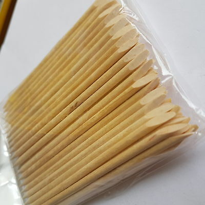 100 Wooden Cuticle Pusher Sticks perfect for nail technicians - UK SELLER