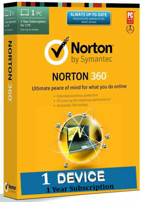 Norton 360 antivirus Security windows - 2019 - 1 Year - 1 PC - fast delivery