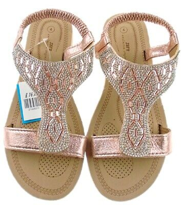 New 9127 Diamante Cushioned Slingback Holiday Sandals ROSE GOLD Size 3- 8
