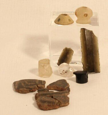 Pre Columbian mix lot Mixtec Mayan Chavin quartz obsidian clay
