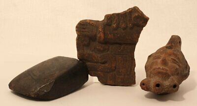 Pre Columbian Veracruz Terracotta Fragment with a Celt and oil lamp