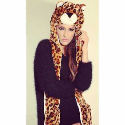 FASHION ANIMAL Womens Ladies Junior Kids Faux Fur Winter Warm Hat Gloves Leopard