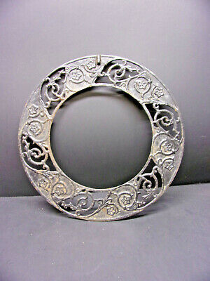 Antique Cast Iron Floral Design Furnace Grate Mirror or Picture Frame