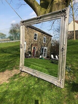 HUGE Extra Large silver gilt French antiqued Wall leaner mirror 185cm square a