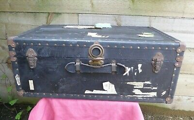 Vintage Large Black Steamer Chest Trunk Coffee Table Toy Box Storage Suitcase