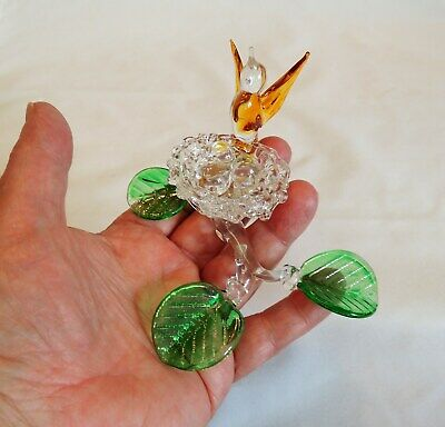 Rare Vintage Hand Spun Blown Art Glass Figurine.. Bird & Nest With Eggs