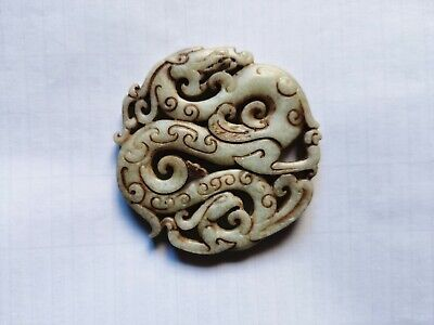 Chinese old jade Hand carved dragon Amulet Pendant