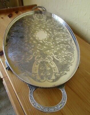 Superb Vintage Viners Silver Plated Chased Claw Footed Drinks Tray