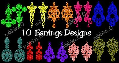 Machine Embroidery Designs - 10 Fsl Embroidery Earrings Designs - Multi-Format