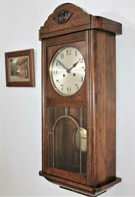 FINE ORIGINAL GERMAN STRIKING OAK WALL CLOCK FIVE BEVELED GLASS PANELS c1925