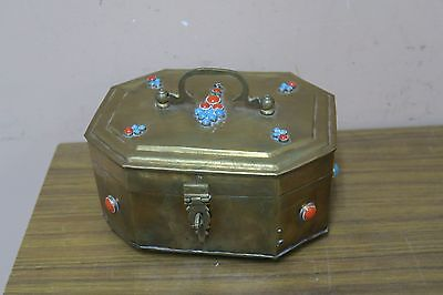 "Vintage Brass Metal Chest Trinket Box Decorated With Stones India 6"" X 8"""
