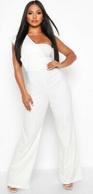 Boohoo One Shoulder Drape Jumpsuit White Womens Size 14 Bnwt