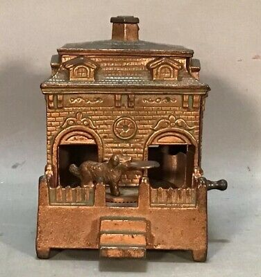 Ca.1900 Antique CAST IRON Figural DOG in HOUSE Old H.L. JUDD MECHANICAL BANK