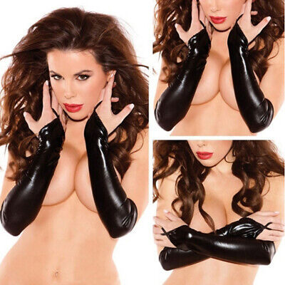 Womens Sexy Black PU Faux Leather Latex Wet Look Long Elbow Fingerless Gloves TE