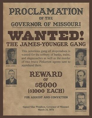 """James Younger Gang,  Wanted poster, Jesse James, 14""""x11"""" - Western outlaw"""