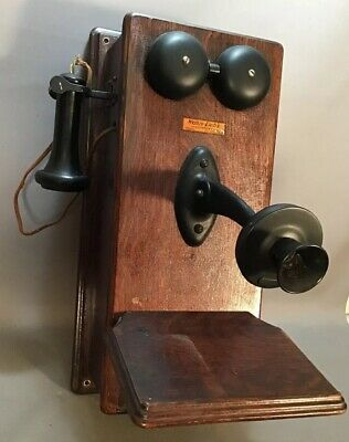 Antique EDWARDIAN Era OAK Western Electric GENERAL STORE Old WALL TELEPHONE