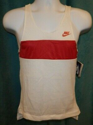 NWT NIKE White with Cranberry Red Trim Tank Top Women's Small VINTAGE
