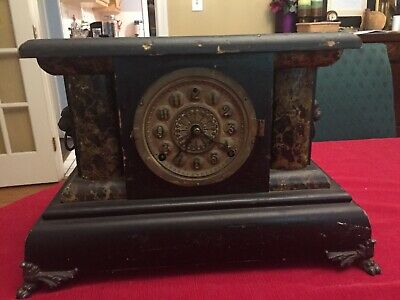 Antique Ansonia Victorian Wooden Marble Case Mantel Clock 1880's