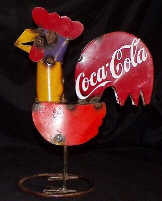 """12"""" Coca Cola Garden Decor Rooster Rustic Metal Colorful Red Blue Yellow 👀"""